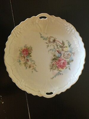 "Vintage Hand Painted Porcelain Plate Scalloped Edge Gold Trim 9 1/2""floral"