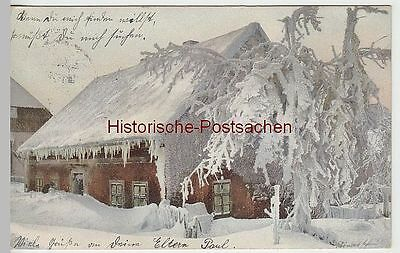 (41378) AK Winterimpression, verschneites Haus, 1908