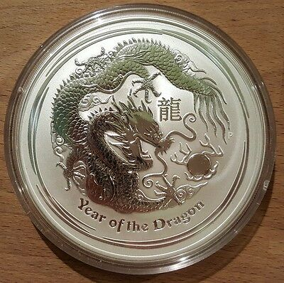 10 oz Lunar II Drache 2012 Silber 999 Silver Lunar 2 Year of the Dragon 10 UNZEN