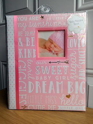 NEW Lil Peach Baby Girl Pink Gold Words Record Memory Keepsake Book