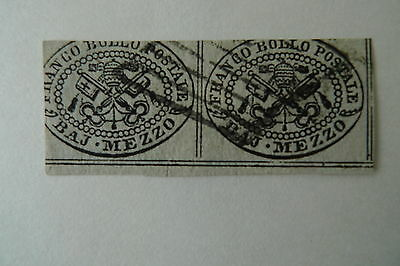 Italy Roman States #1 C Pair Used Wide Margins