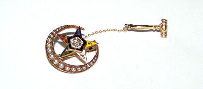 Vintage 14K-10K Gold & Enamel & Seed Pearls Crescent And Gavel Eastern Star Pin