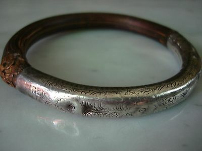 Antique Chinese Bamboo Rattan Silver Repousse Bangle Bracelet