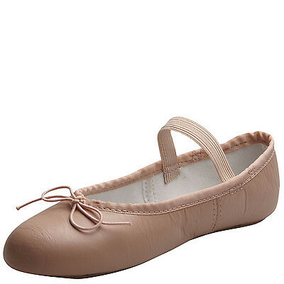 ABT Children's Pink Leather Full Sole Ballet Slippers