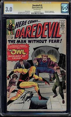 Daredevil #3 Cgc 3.0 Ss Stan Lee Signed Owl Origin & 1St App Cgc 1203322013
