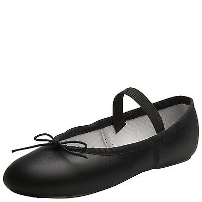ABT Adult Black Leather Full Sole Ballet Slippers