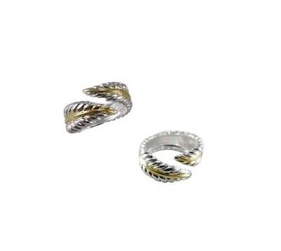 Silver & Gold Adjustable Leaf Open Ring Thumb Finger Knuckle Toe Staking Band