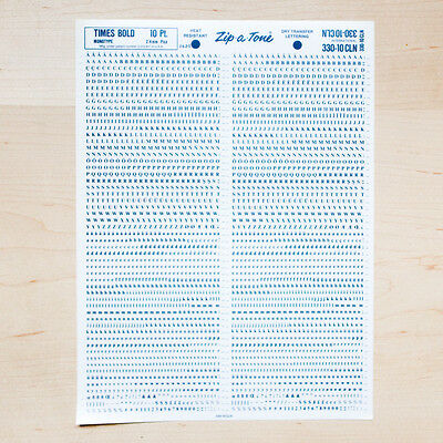1 Sheet TIMES 10pt Bold Letraset L166 Rub on Lettering Dry Transfers Letters