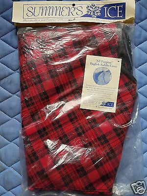 Summer's Ice All Purpose English Saddle Cover Red and Black Plaid