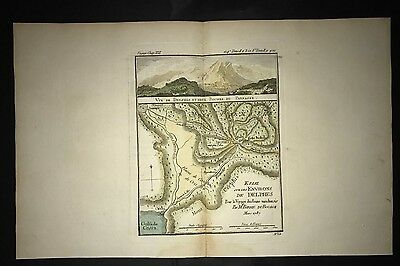 Delphi & Parnassu Mountains Greece 1790 Map Hand Colored Bocage Environs Delphes