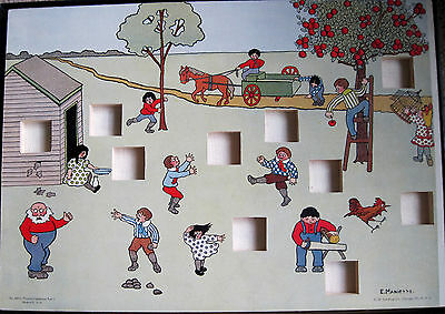 Rare 1920's C H Stoelting Pictorial Completion Test Child Psychology Puzzle wood