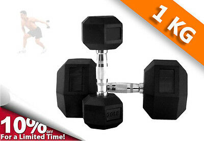 Hex Rubber Coated Dumbbells Pair /Dumbbells Home Gym Hand Strength Train