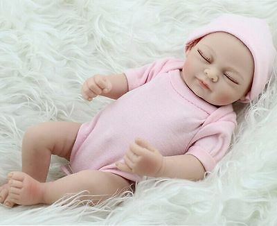 "Handmade 11"" Real-Look Vinyl Silicone Newborn Baby Girl Reborn Doll US Stock"
