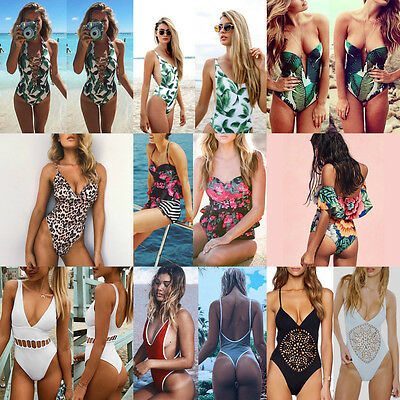 Women's One Piece Monokini Push Up Padded Bikini Swimsuit Swimwear Bathing Suit