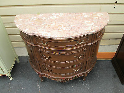 53875  French Marble Top 1/2 Round Console Demilune Server Chest