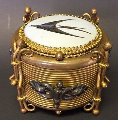 Antique 19C Swallow Birds Enamel & Bronze Trinket Jewelry Box Reversable