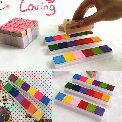 6Colors Teacher Rubber Stamp Craft Ink Pad Wood Fabric Wedding Finger Paint