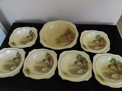 Red Roof Royal Winton Large Serving Bowl + 6 small bowls