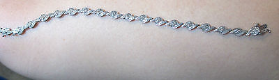 "14k White gold diamond bracelet (1 caret) 7 1/2"" long Women Gift $1000 appraisal"
