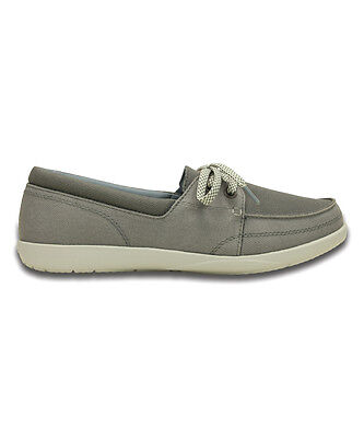 d790680a7a4 New Women s Crocs Walu II Canvas Skimmer Slip-on Loafers Shoes SZ 6 7 Gray