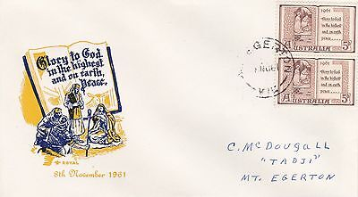 BD591) Australia 1961 Christmas dark blue and yellow cachet Royal FDC