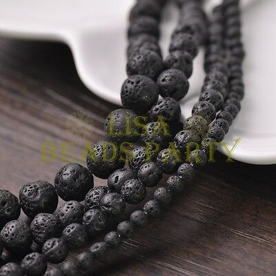 Wholesale 4mm/6mm/8mm/10mm Round Natural Lava Stone Loose Gemstone Beads