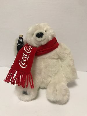 Coca Cola Polar Bear Danbury Mint Plush Holding A Coke And Red Scarf Excellent