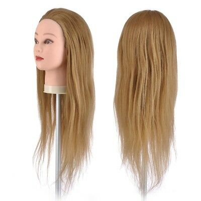 """22"""" 90% Human Hair Hairdressing Practice Training Model Head Mannequin w/ Clamp"""