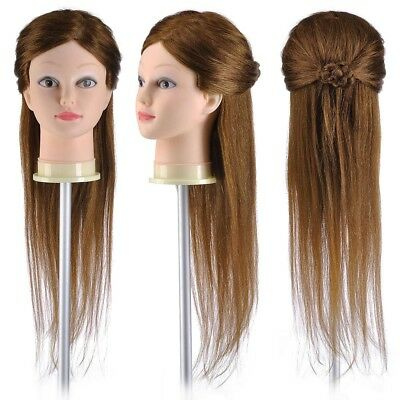 "22"" 100% Human Hair Practice Hairdressing Training Head Mannequin Model w/ Clamp"