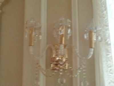 Pair of Beautiful Classic Gold Plated Crystal Sconces