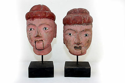 3# Beautiful & Rare Pair of Antique Burmese Wooden Burma Puppet Head With Stand