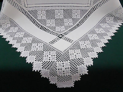 Antique Irish Linen Tablecloth~Stunning Deep Lush Hand Crochet~Tenerife