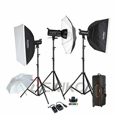 Godox SK400 400W Studio Strobe Camera Flash Head Light Stand Softbox