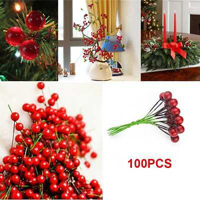 100pcs Artificial Red Holly Berry 10mm Pick Branch Wreath For Christmas Tree UK