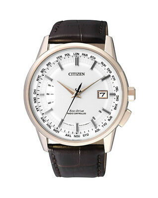 NEW Citizen Mens Gold Eco-Drive Radio Controlled Watch - CB0153-21A