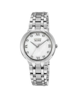 NEW Citizen Ladies Silver Stainless Steel Eco-Drive Diamond Watch - EM0130-54A