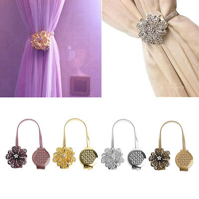 Magnetic Curtain Clip Rhinestone Flower Retractable Window Tie Back Holdback