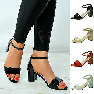New Womens Mid Block Heel Sandals Ladies Ankle Strap Patent Peep Toe Shoes Size