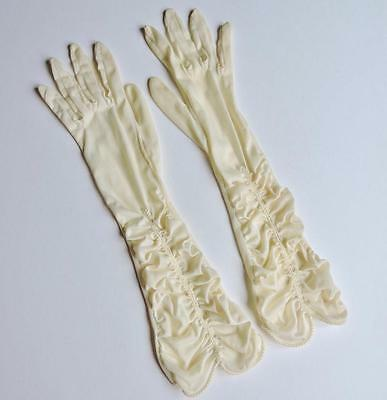 Beautiful Vintage Silky Cream Ruched Gloves Size 7 1/2 Evening Wedding
