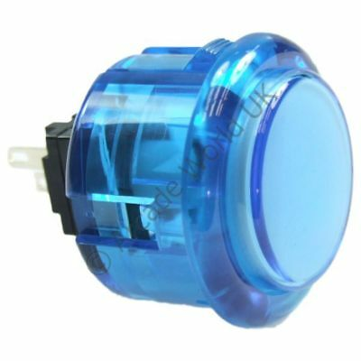 1 x Genuine Blue Seimitsu PS-14-K Snap In Arcade Button - 30mm Mounting Hole