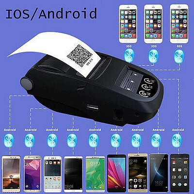 Handheld Bluetooth Wireless Printer 58mm Thermal Printer For iPhone Android PC