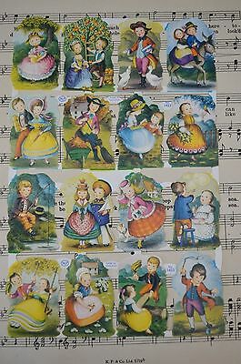 A Sheet Of Mlp Scraps No 1423 Children In Vintage Costume - Unused Sheet