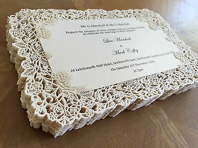 Personalised Wedding Invitations Lace Laser Cut