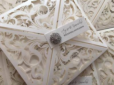 Personalised Wedding Invitations Lace Laser Cut Wallet Style