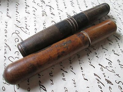 Antique lot off 2 hand turned needle case,from wood,