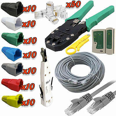 50M Network Ethernet RJ45 Cat5 Cable + Tester Cutter Crimper Punch Down Tool Kit