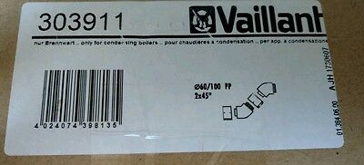 Vaillant 45 flue bends (x2 in box)  303911 brand new sealed box