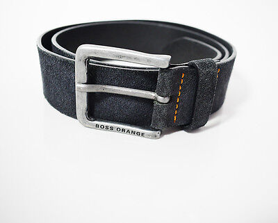 Hugo Boss Orange Designer Mens Suede Leather Belt Black / Grey
