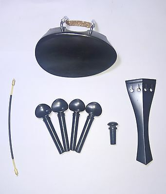 Flesch Chinrest English tailpiece Swiss pegs endpinEbony Violin parts Set