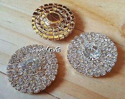 2pcs Round GOLD Rhinestone Diamante Crystal Flatback Buttons Cabochons Bling